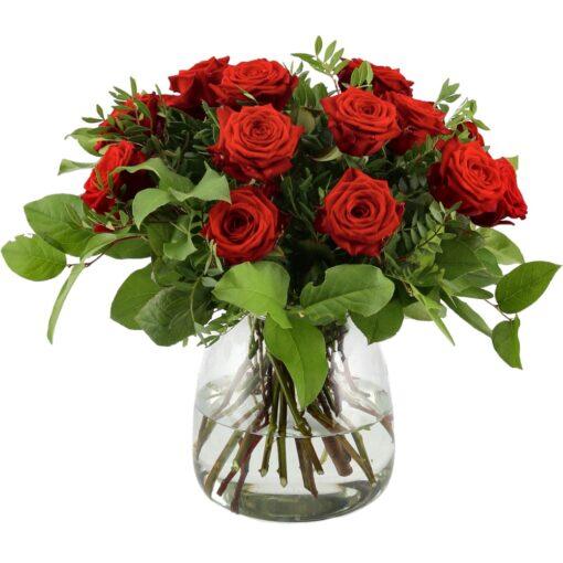 Skøn buket med røde roser